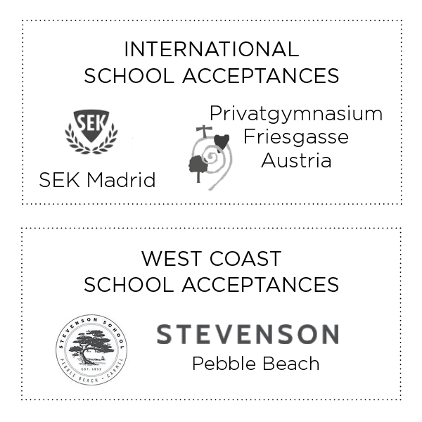 International and West Coast School Acceptances